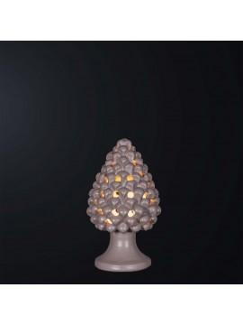 Pine cone lamp H.21cm in dove gray ceramic 1 light BGA 3179-lm