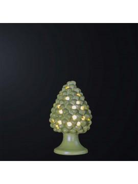 Pine cone lamp H.21cm in green ceramic 1 light BGA 3179-lm
