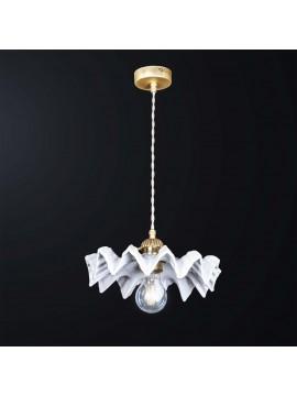Lampadario a sospensione in ceramica bianco e ottone 1 luce BGA 3180-p1