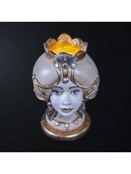 Lampada testa di moro donna in ceramica classica h.32cm BGA 3182-l