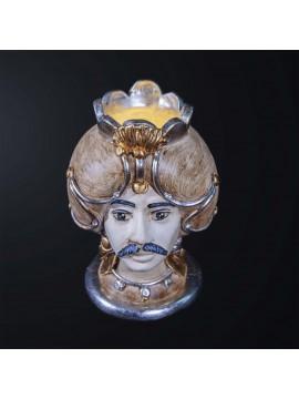 Lampada testa di moro uomo in ceramica classica h.32cm BGA 3182-l