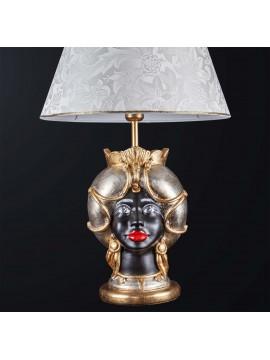 Woman dark brown lamp in classic ceramic h.65cm BGA 3186-l