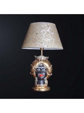 Lampada testa di moro uomo in ceramica classica h.65cm BGA 3186-l