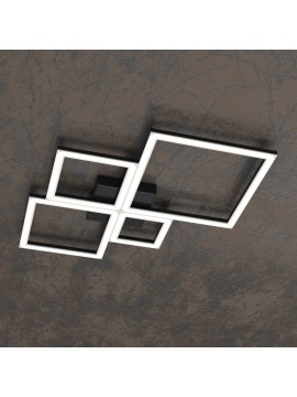 Plafoniera moderna a led per soggiorno camera design nero tpl 0069