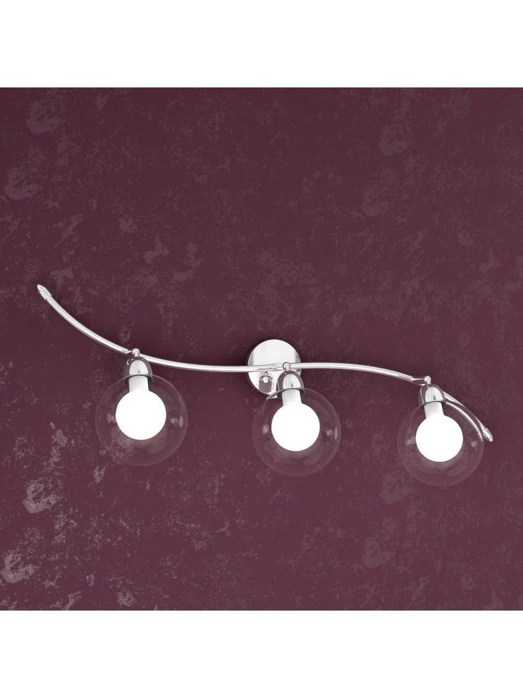Applique 3 luci con sfere in vetro trasparenti tpl1098-f3bi
