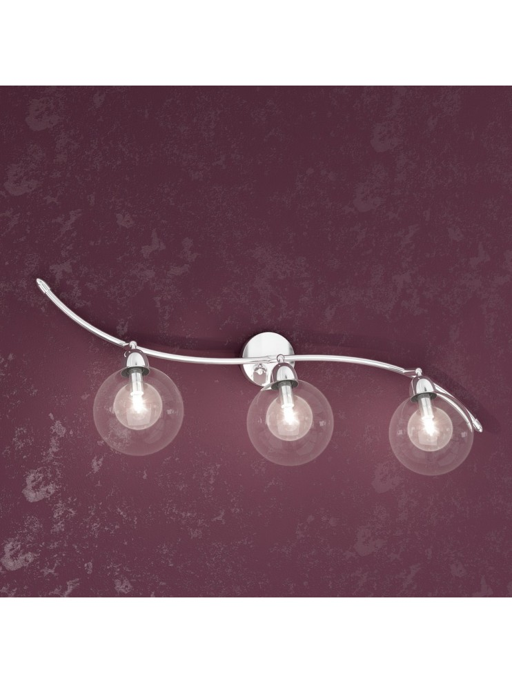 3 lights wall lamp with transparent glass spheres tpl1098-f3tr