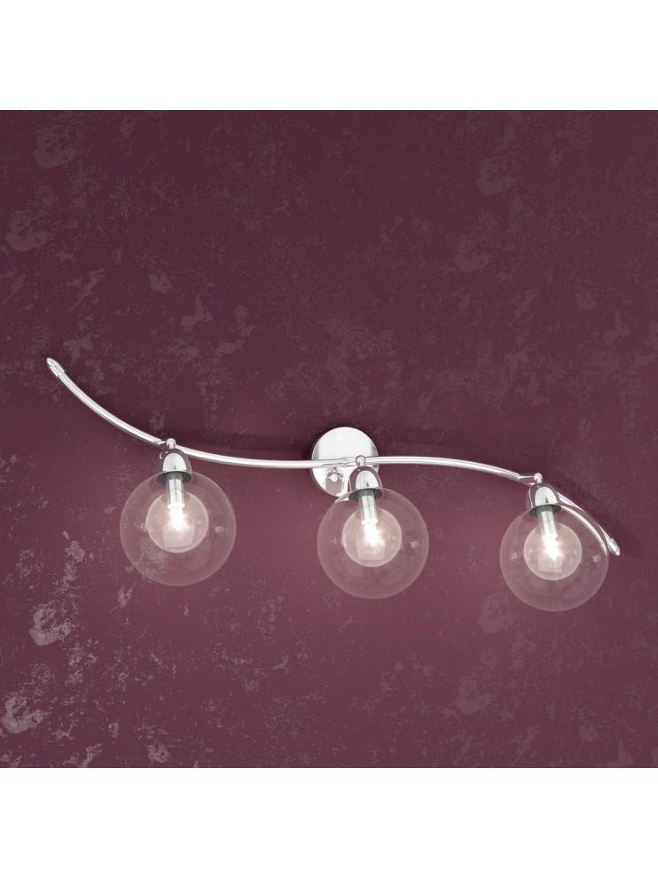 Applique 3 luci con sfere in vetro trasparente tpl1098-f3tr
