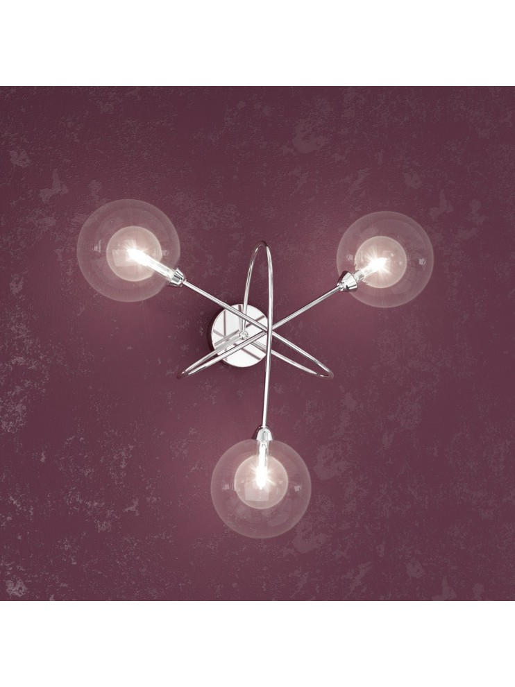 3 lights wall lamp with transparent spheres tpl1098-a3tr