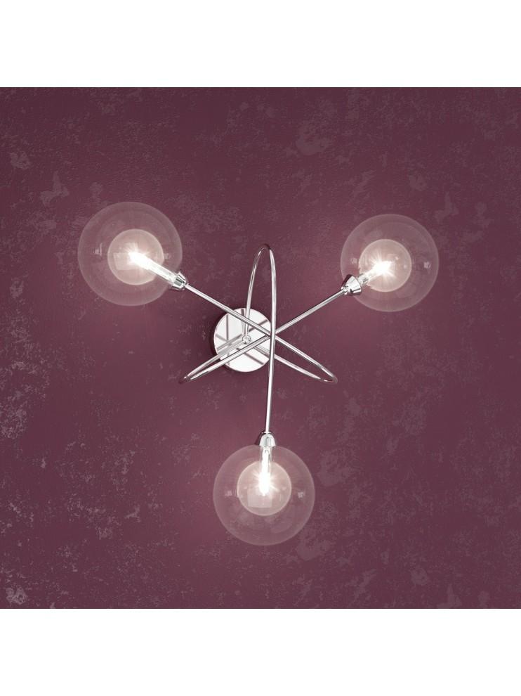 Applique 3 luci con sfere trasparenti tpl1098-a3tr