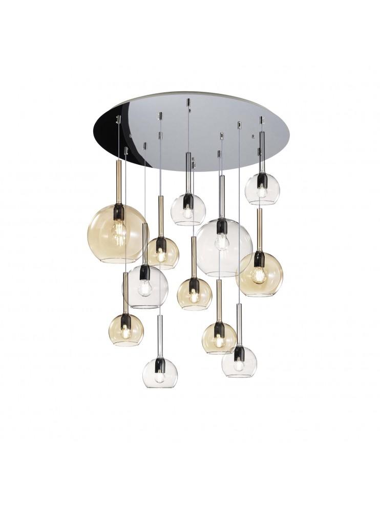 Modern living room suspension chandelier 12 lights tpl glass 0097