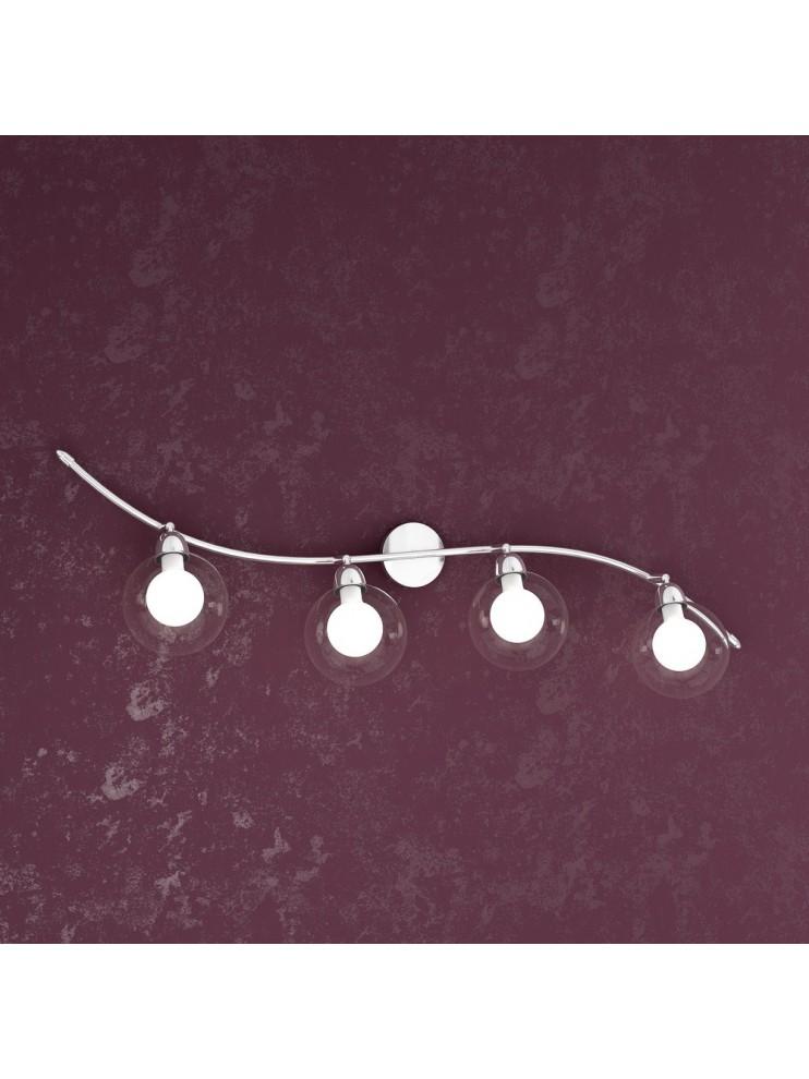Applique 4 luci con sfere in vetro trasparenti tpl1098-f4bi