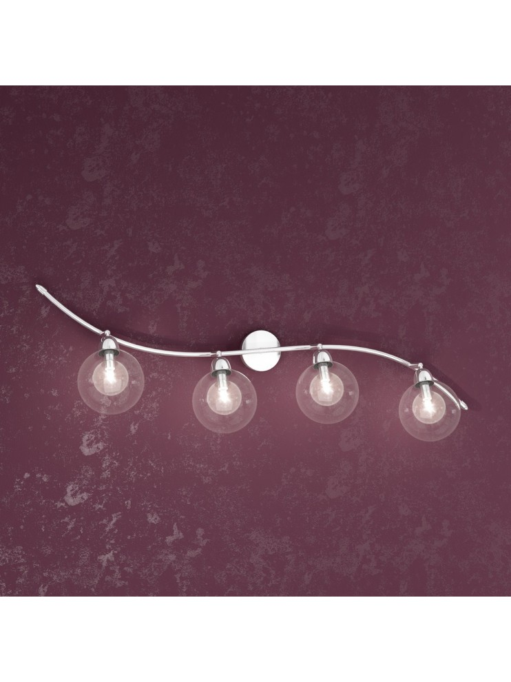 4 lights wall lamp with transparent glass spheres tpl 1098-f4tr