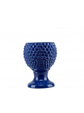 Vaso porta piante a Pigna in ceramica siciliana colore blu Harmony