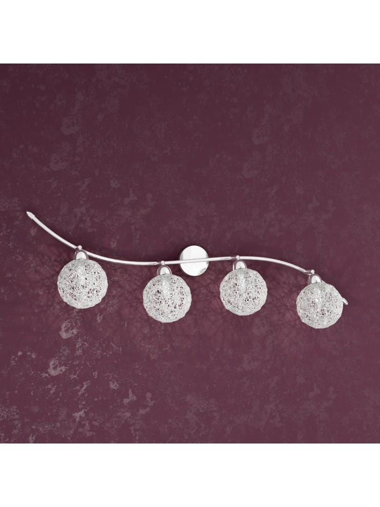 Applique 4 luci con sfere intrecciate in alluminio tpl1098-f4go