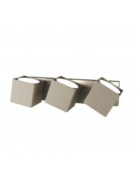 Applique da parete moderno tortora orientabile per corridoio 3 luci tpl 0125