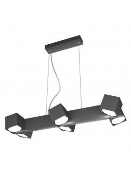 Lampadario moderno con faretti orientabili antracite per studio 6 luci tpl 0127