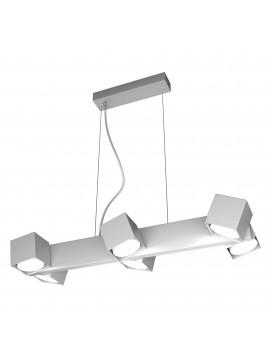 Lampadario moderno con faretti orientabili grigio per studio 6 luci tpl 0128