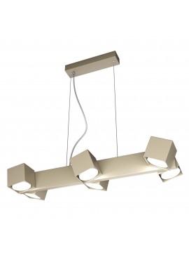 Lampadario moderno con faretti orientabili tortora per studio 6 luci tpl 0129