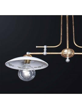 Classic barbell in brass gold leaf and ceramic with 2 lights BGA 3196