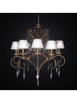 Classic chandelier in wrought iron and crystal with 10 lights BGA 2244-10cp