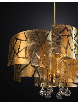 Classic chandelier in gold leaf and crystal with 6 lights BGA 2246-6