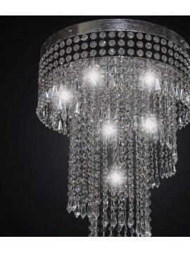 Plafoniera moderna cascata di cristallo foglia argento 6 luci BGA 2249-pl40