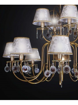 Classic chandelier in wrought iron and crystal 12 lights BGA 2257-12