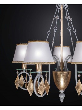 Classic chandelier in wrought iron gold leaf with 5 lights BGA 2258-5