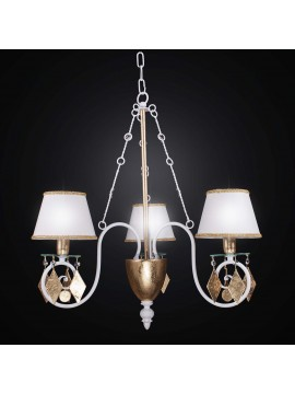 Classic chandelier in wrought iron gold leaf with 3 lights BGA 2258-3