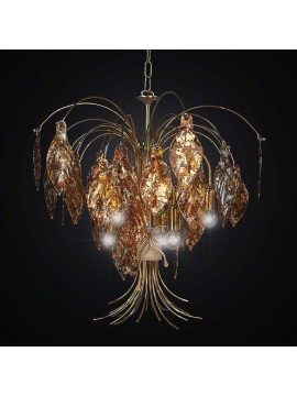 Classic chandelier in gold leaf glass fusion with 6 lights BGA 2284-6