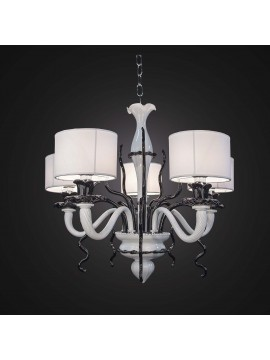 Classic black and white Murano chandelier with 5 lights BGA 2352-5
