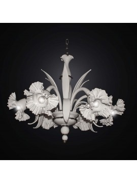 Classic black and white Murano chandelier with 6 lights BGA 2353-6