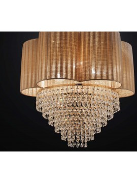 Classic gold chandelier with 4 lights amber lampshade BGA 2394-s45