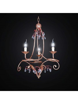 Classic chandelier in wrought iron and crystal with 3 lights BGA 2468-3