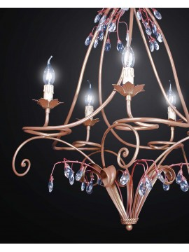 Classic chandelier in wrought iron and crystal with 5 lights BGA 2468-5