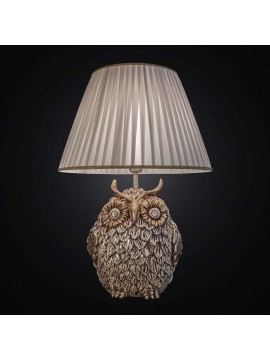 Large classic owl lamp in gold leaf ceramic with 2 lights BGA 2473-lg