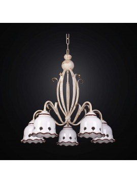 Classic chandelier in wrought iron and ceramic with 5 lights BGA 2605-5