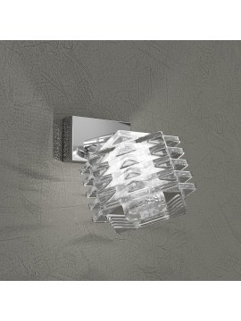 Applique 1 luce cromato cubo cristallo tpl 1126-f1
