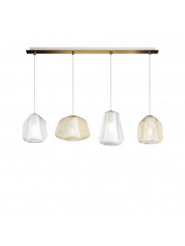 Modern transparent gold-amber chandelier for living room kitchen 4 lights tpl 0897