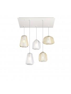 Modern transparent amber chandelier for living room kitchen 5 lights tpl 0899