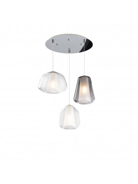 Modern transparent-smoked chandelier for living room kitchen 3 lights tpl 0902
