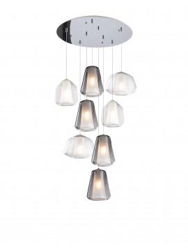 Modern transparent-smoked chandelier for living room 8 lights tpl 0904