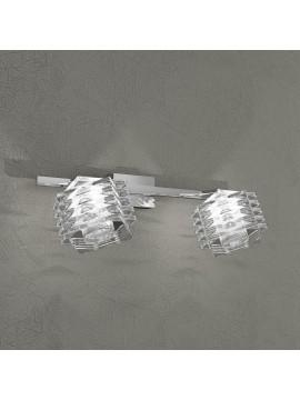 Applique 2 luci cromato cubo cristalli tpl 1126-f2