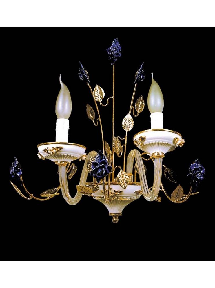 Applique in cristallo e ceramica blu 2 luci Design Swarovsky BGA 1042