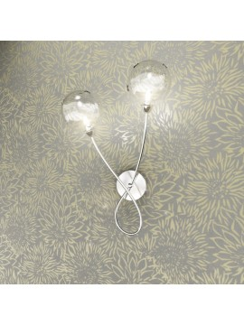Chrome 2 lights wall lamp with transparent glass tpl 1109-a2