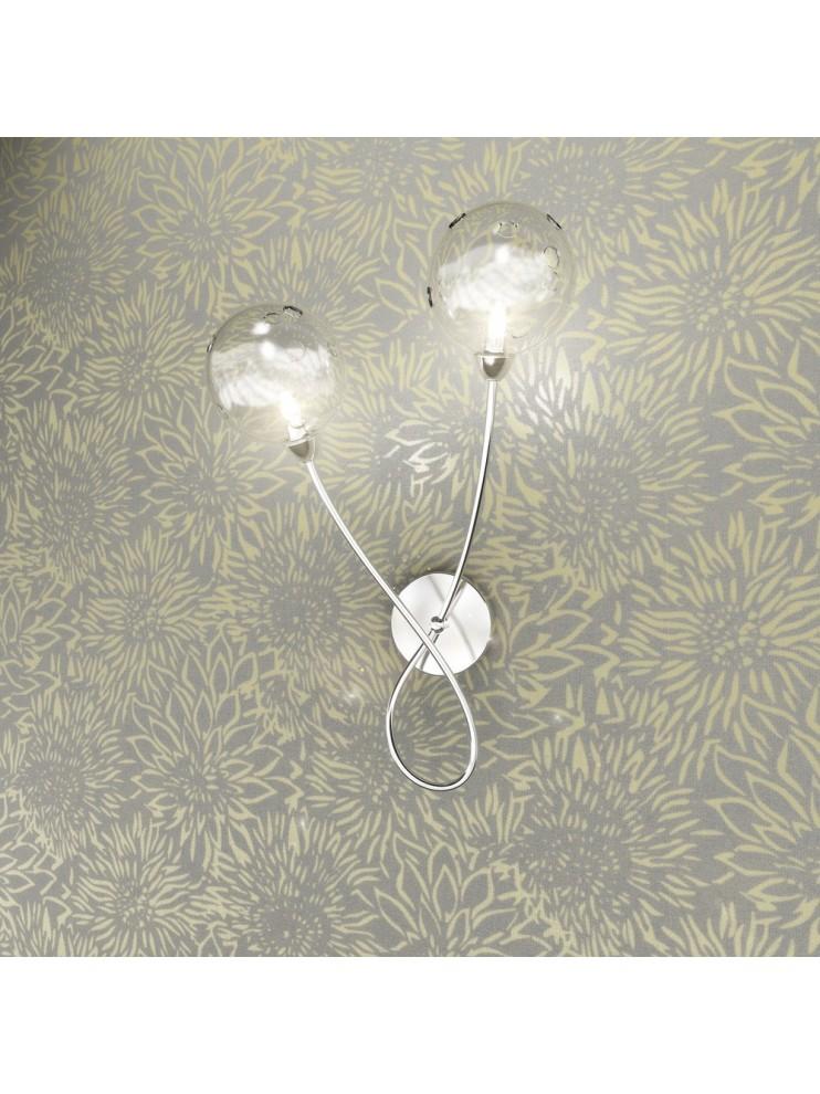 Applique cromato 2 luci con vetro trasparente tpl 1109-a2