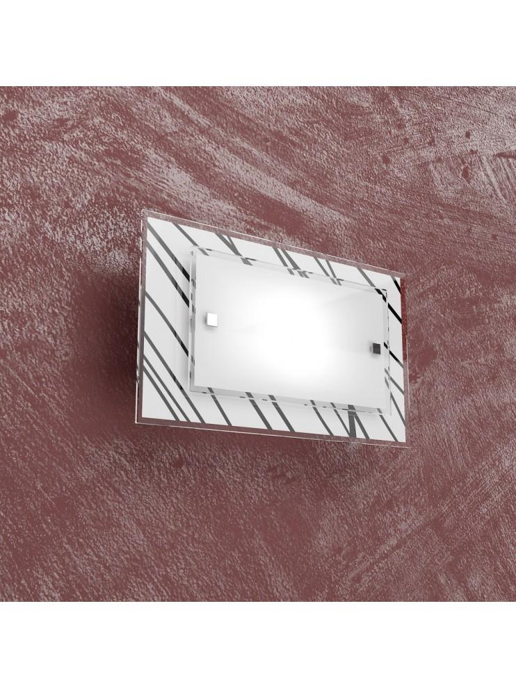Applique cromato 1 luce con vetro bianco e nero tpl 1124-ap