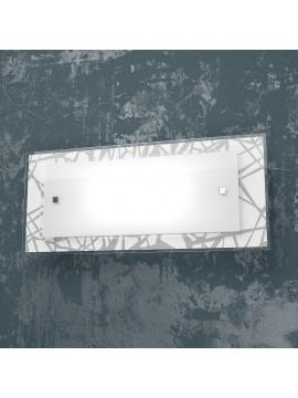 Applique cromato 2 luci in vetro serigrafato tpl 1123-ag