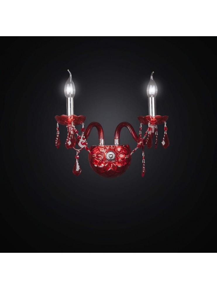 Applique in cristallo rosso 2 luci Design Swarovsky BGA 2491-A2