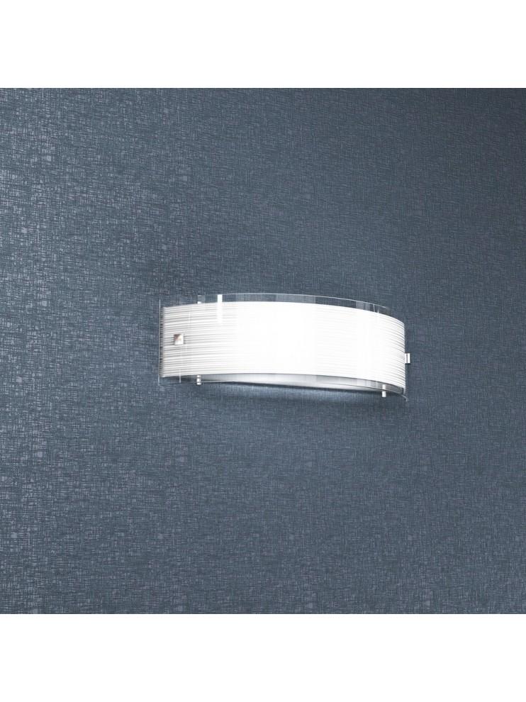 Applique cromato 2 luci vetro bianco tpl 1075-a40